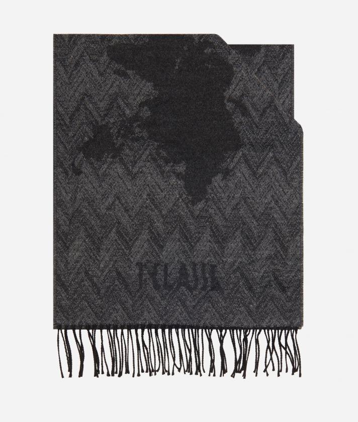 Geo Spiga print scarf 40 x 200 Grey
