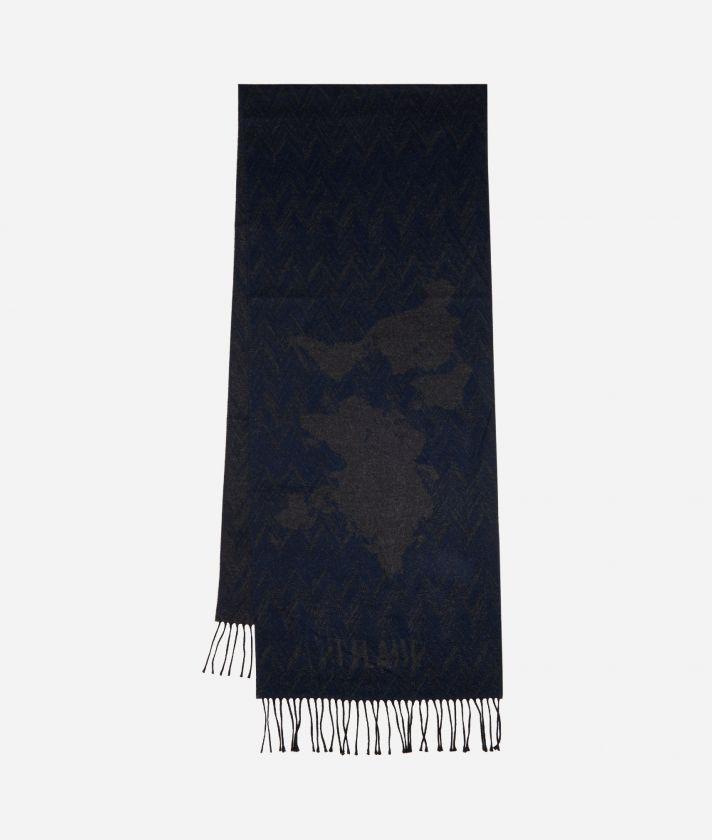 Geo Spiga print scarf 40 x 200 Blue