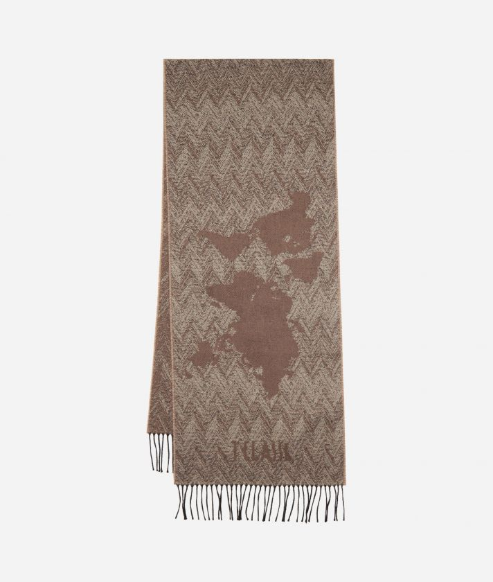 Geo Spiga print scarf 40 x 200 Toupe