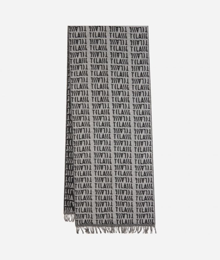 Stole with all-over logo35 x 180 Grey