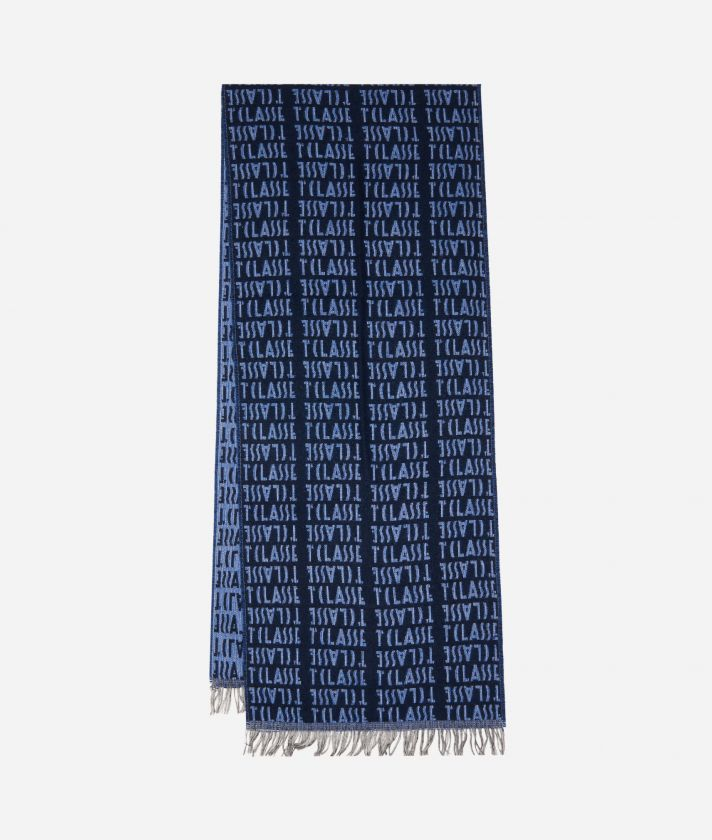 Stole with all-over logo35 x 180 Blue