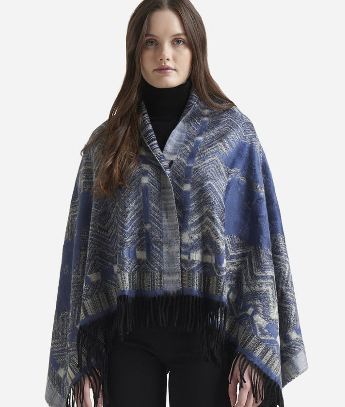 Geo Spiga print maxi scarf80 x 160 Blue