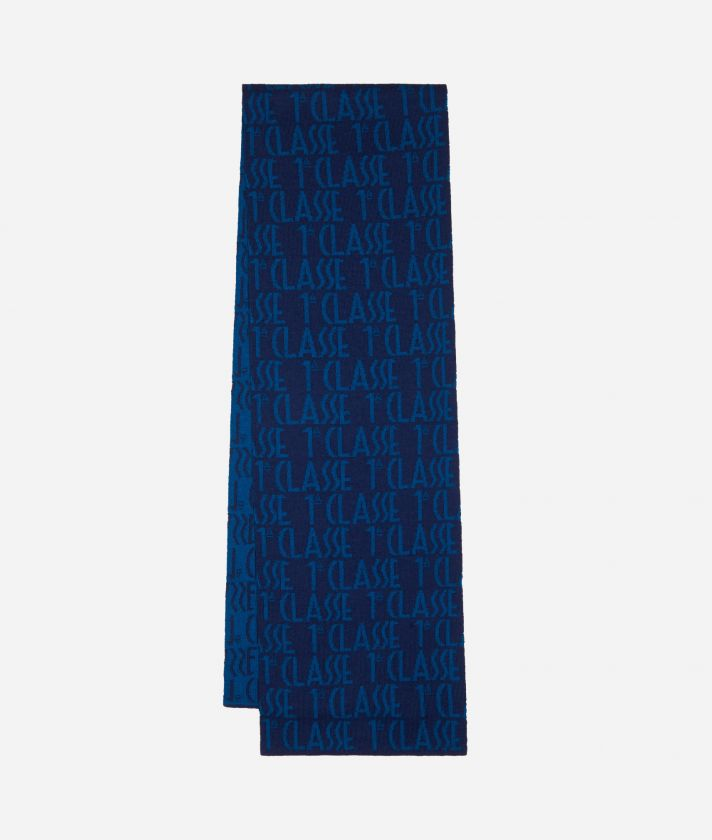 Scarf with all-over logo25 x 170 Blue