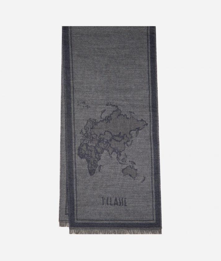 Geo Cornice print scarf40 x 180 Blue