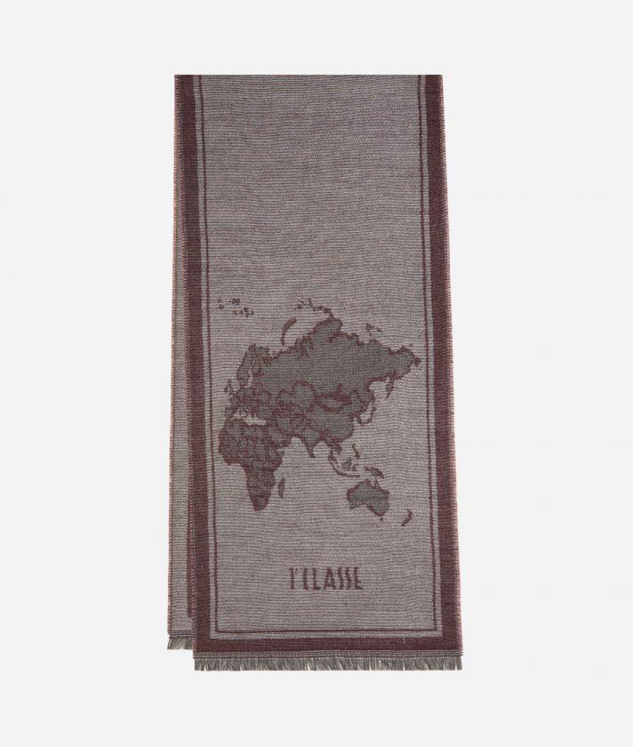 Geo Cornice print scarf40 x 180 Bordeaux