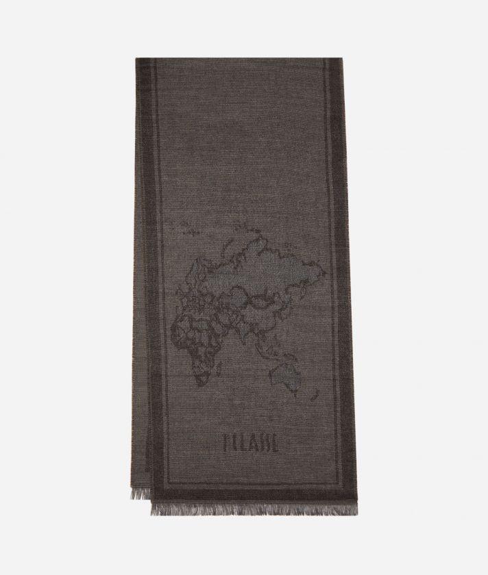 Geo Cornice print scarf40 x 180 Grey