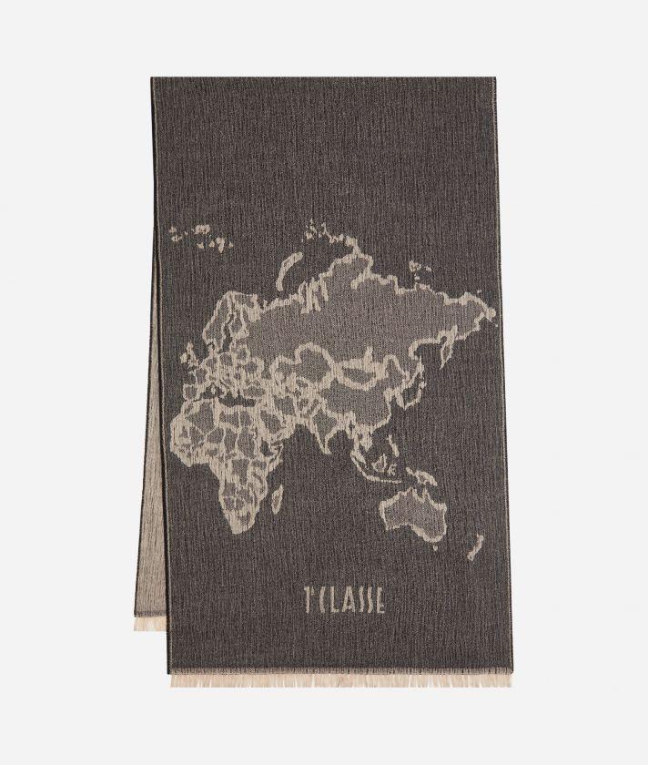Geo Pieno print maxi scarf 55 x 180 Black
