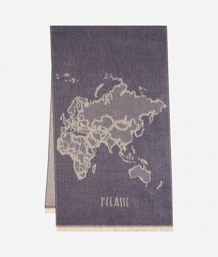 Geo Pieno print maxi scarf 55 x 180 Blue