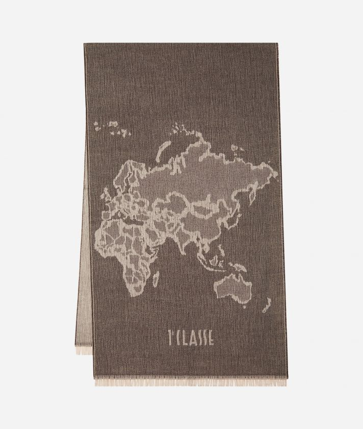 Geo Pieno print maxi scarf 55 x 180 Grey