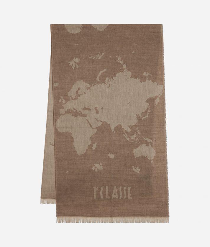 Geo Pieno print ma i scarf 55 x 180 Beige