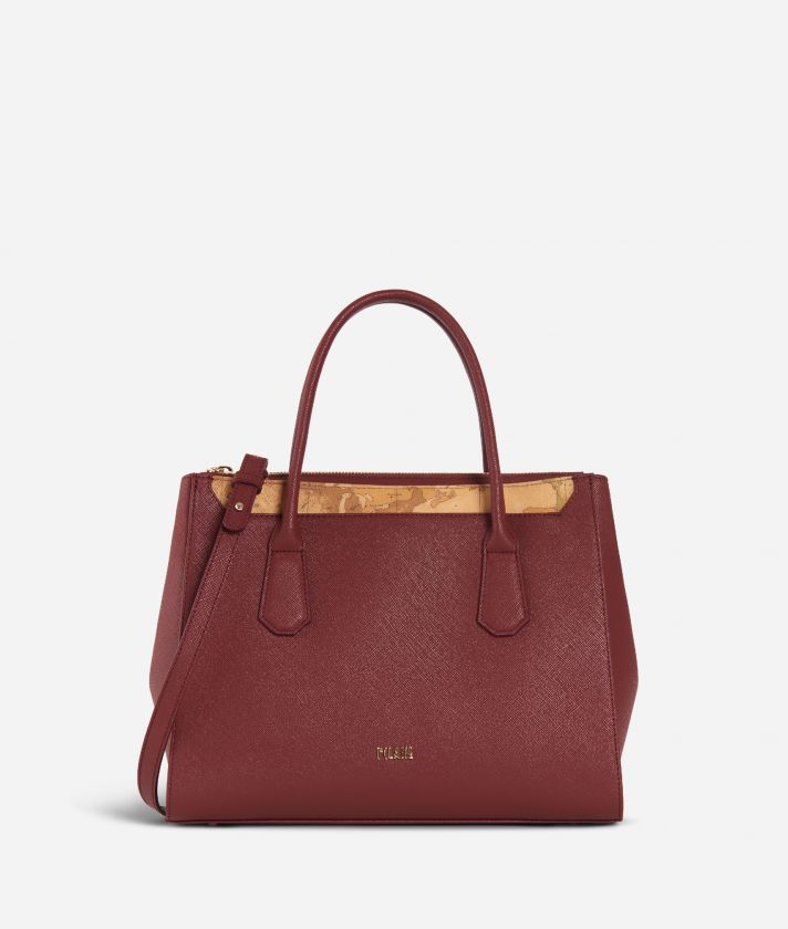Sky City Medium Handbag Geo Bordeaux Cabernet