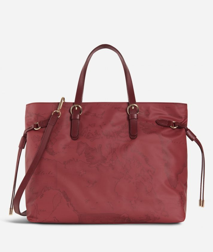 Soft Wood Geo Bordeaux Handbag Cabernet