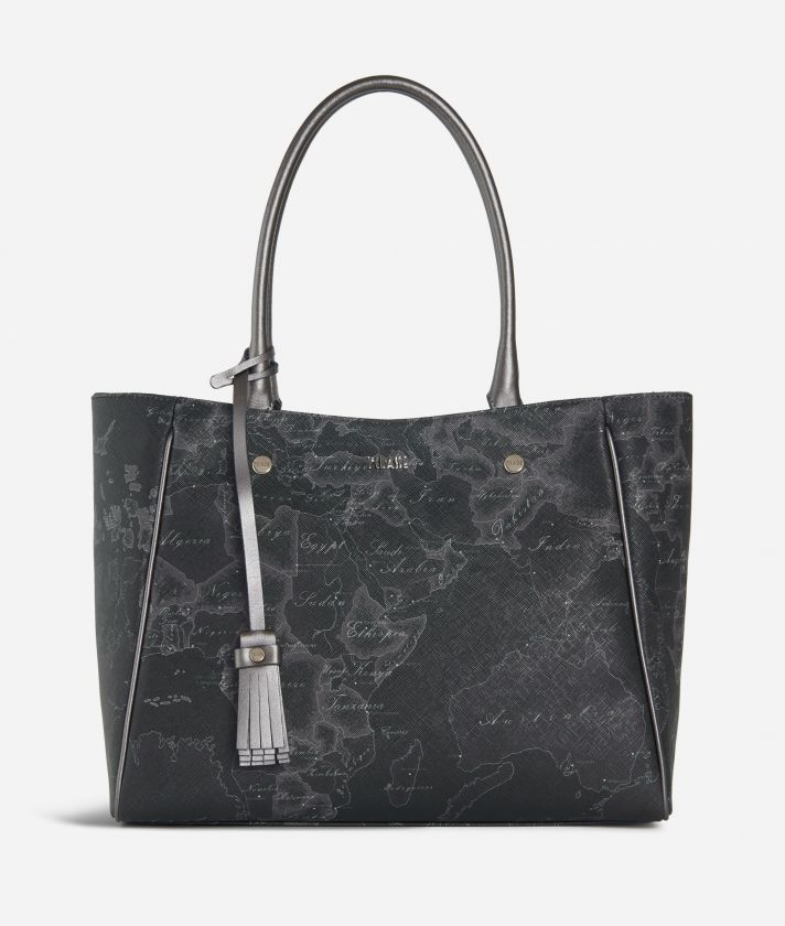 Geo Silver Night Shopping bag Black