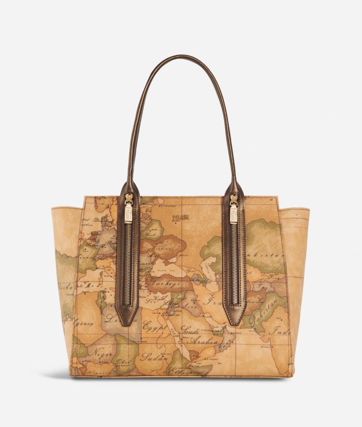 Autumn Geo Shopping bag Bronzo