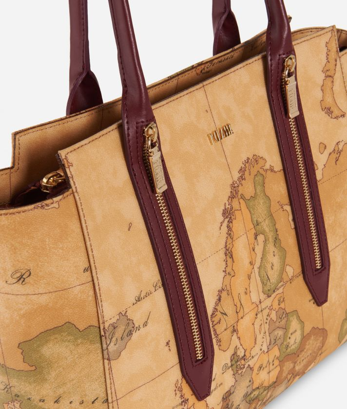 Autumn Geo Shopping bag Bordeaux