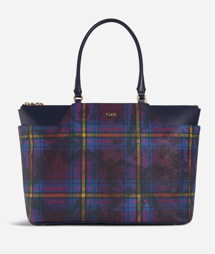 Geo Tartan Shopping bag grande Multicolor