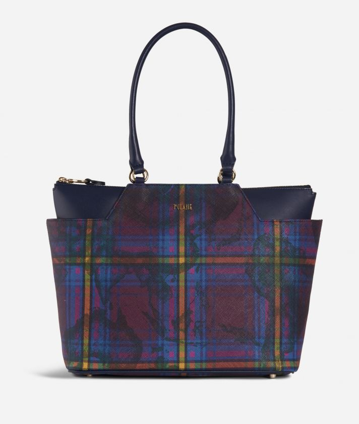 Geo Tartan Shopping bag media Multicolor