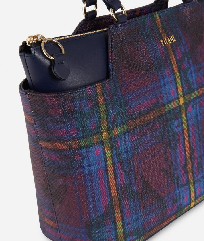 Geo Tartan Medium Shopping bag Multicolor