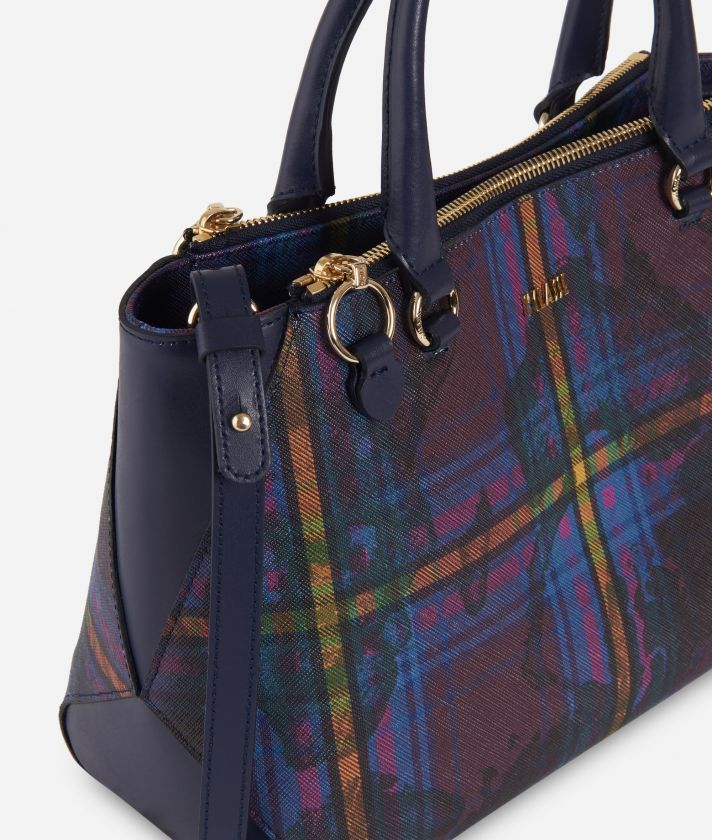 Geo Tartan Medium Handbag Multicolor