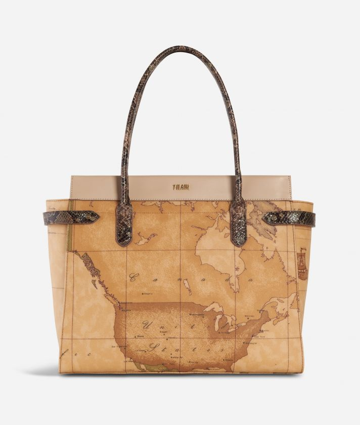 Fantasy Geo Shopping bag Crema