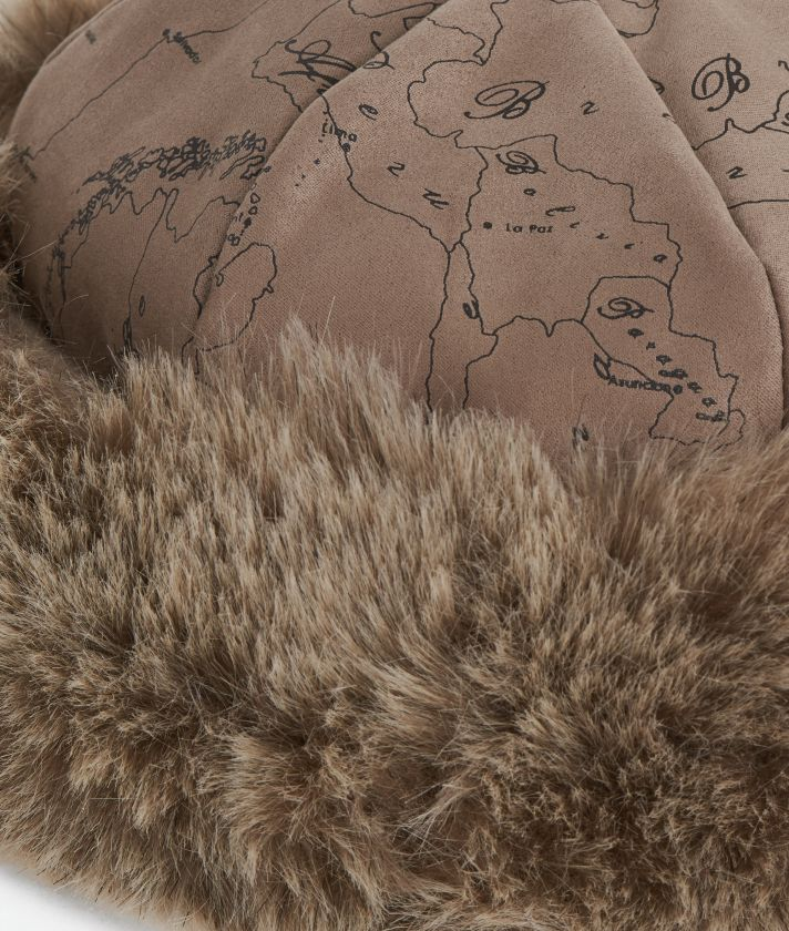Geo Filetto print eco-fur suede hat Mud