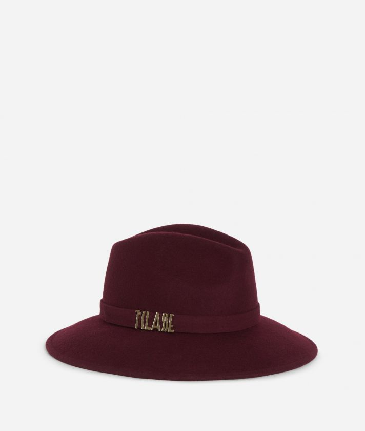 Cappello Casual in feltro con logo Bordeaux