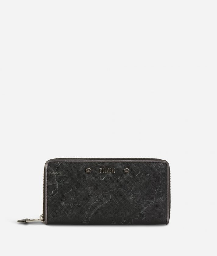 Geo Silver Night Ziparound Wallet Black