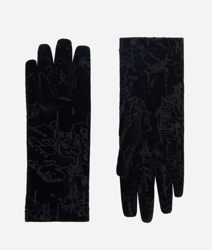Velvet Woman Gloves With Geo Filetto print Black