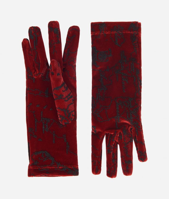 Velvet Woman Gloves With Geo Filetto print Bordeaux