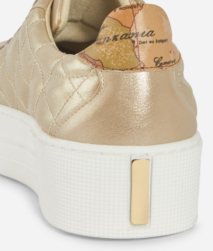 Sparkling Platform Sneakers Gold