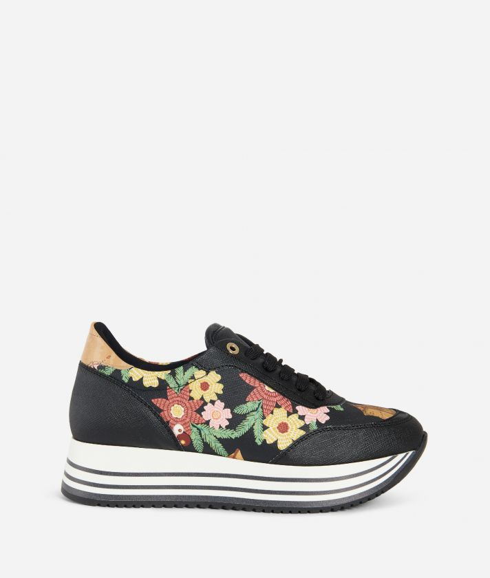 Christmas Flower High Sneakers Black