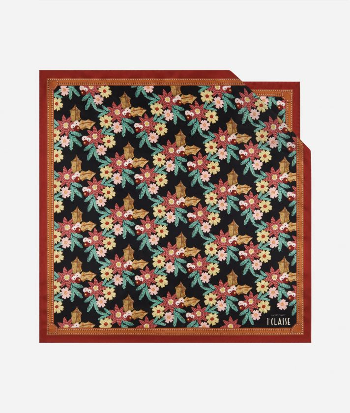 Christmas Flower Silk Foulard 70 x 70 Black