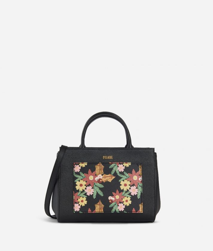 Christmas Flower Small Handbag Black
