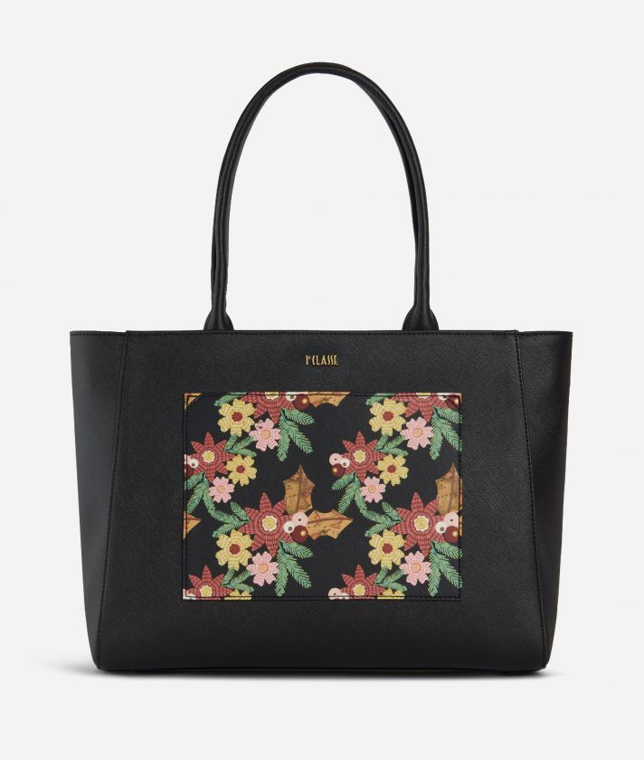 Christmas Flower Shopping Bag Black