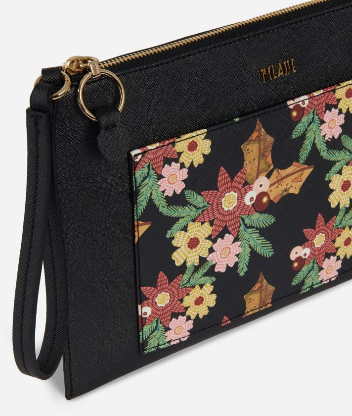 Christmas Flower Clutch Black