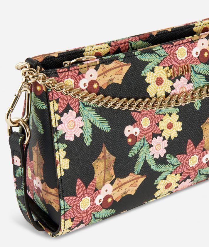 Jewel Bag Tracollina stampa Christmas Flower Nera