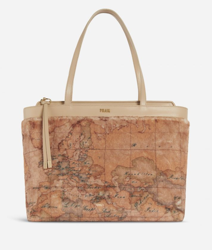 Artic Map Eco-fur Shopping Bag