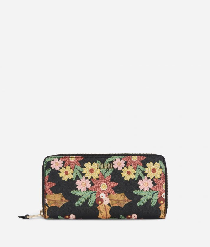 Christmas Flower Zip-around Wallet Black