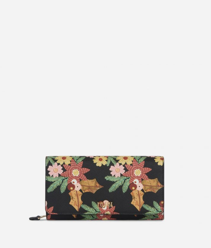 Christmas Flower Wallet Black