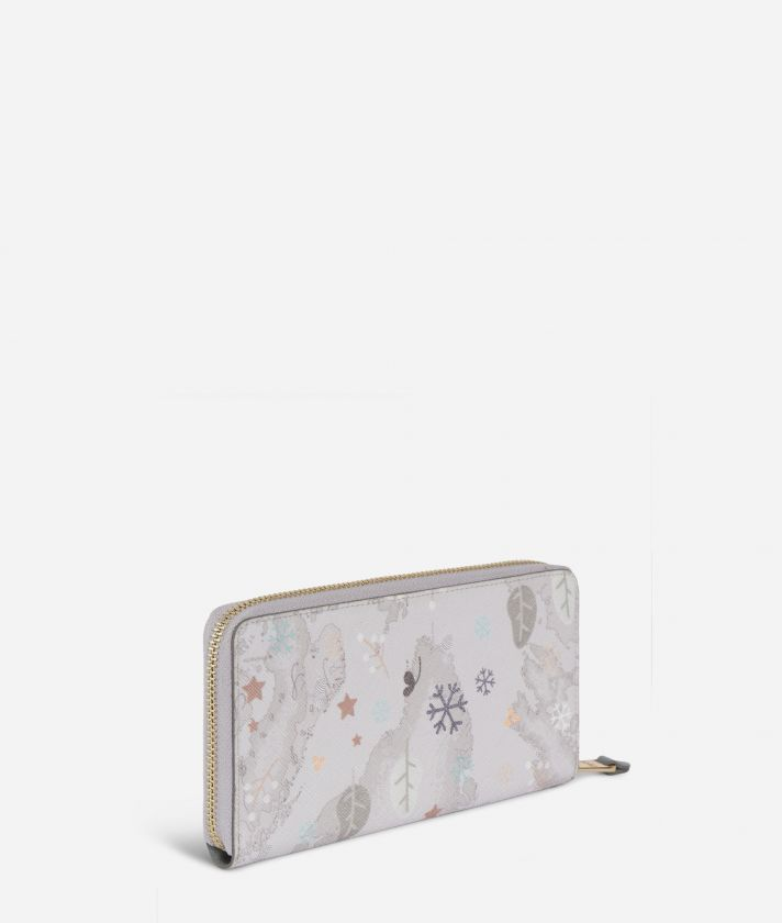 White Snow Zip-around Wallet White