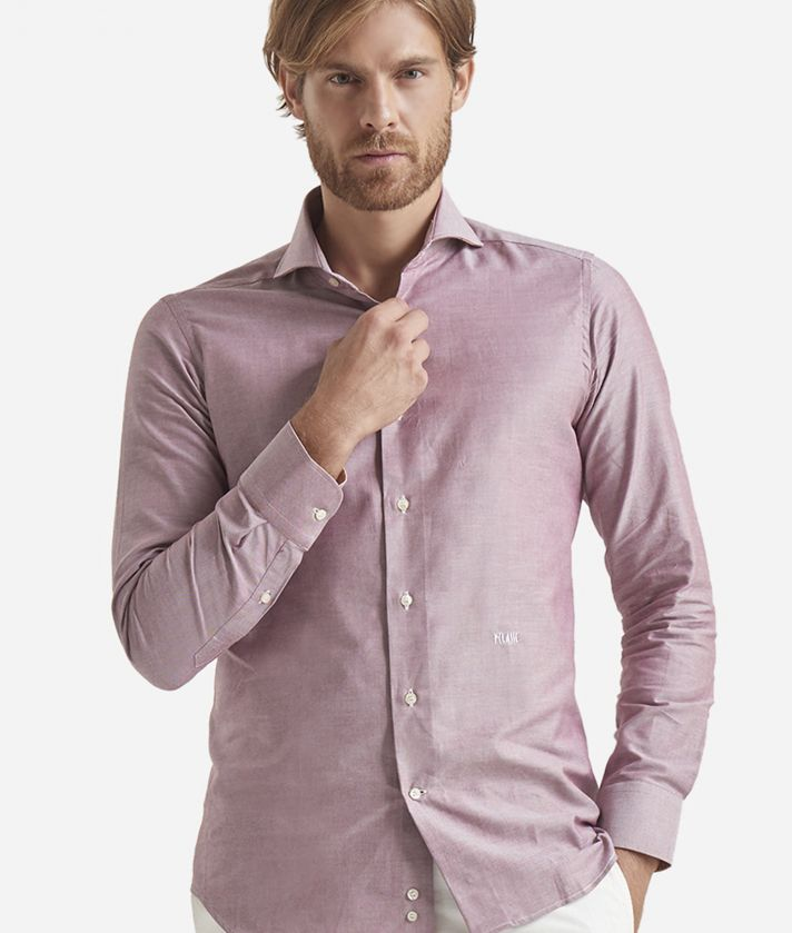Slim fit shirt in pure cotton Bordeaux