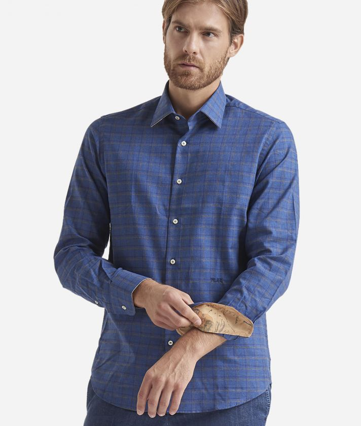 Regular fit shirt in pure cotton Blue