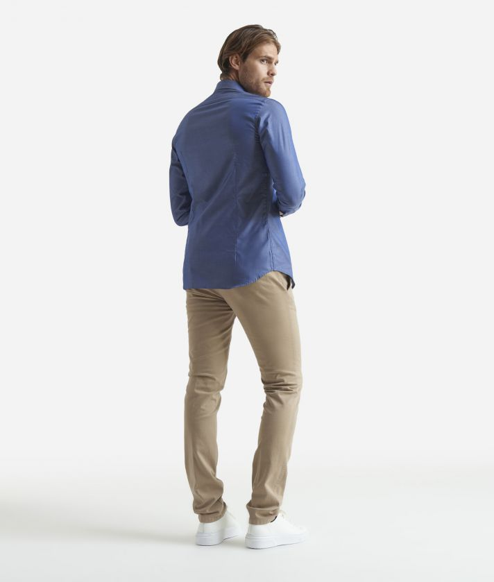 Slim fit shirt in pure cotton Blue