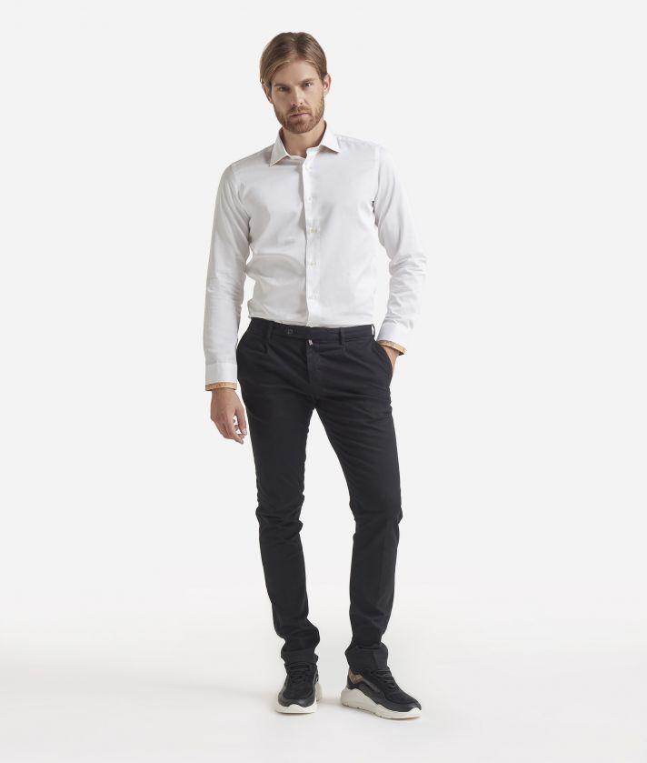 Camicia slim fit in cotone Bianco
