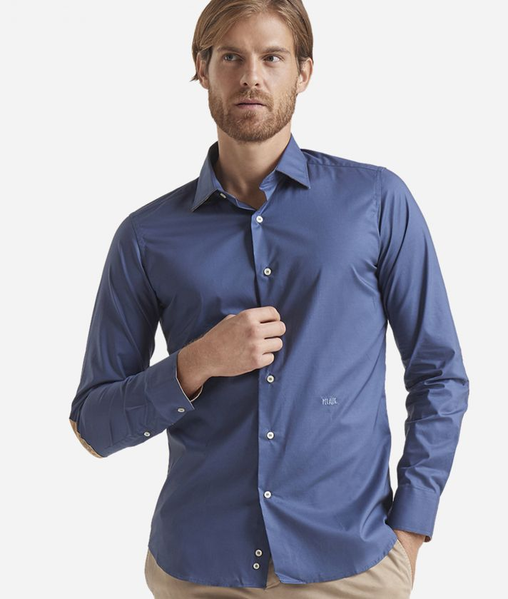 Slim-fit shirt with Geo Classic patches Blue