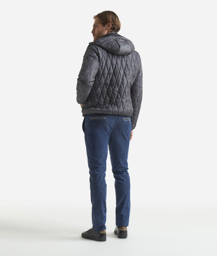 Padded jacket with Geo Filetto print Dark Grey