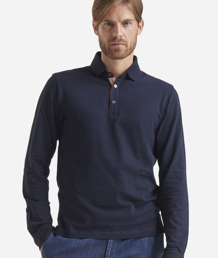 Long sleeves cotton polo Blue