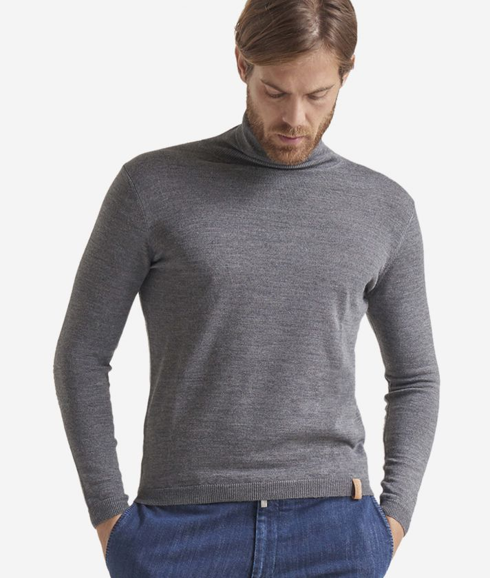 Wool blend turtleneck with Geo Classic print patches Grey