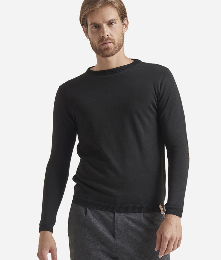 Crewneck wool sweater with Geo Classic patches Black