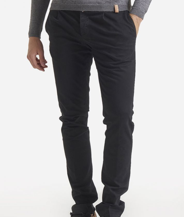 Pantalone super slim a 1 pince in cotone Nero